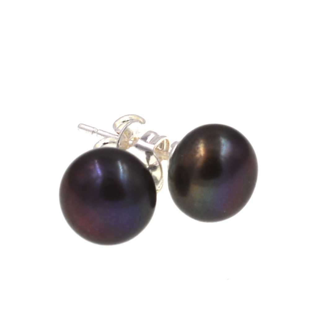 Charming Black Natural freshwater pearls stud pearl earring for women