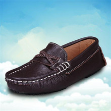 New Spring/Autumn Black Leather Shoes Boys Performance Loafers Children Genuine British style Casual Baby Kids 02B