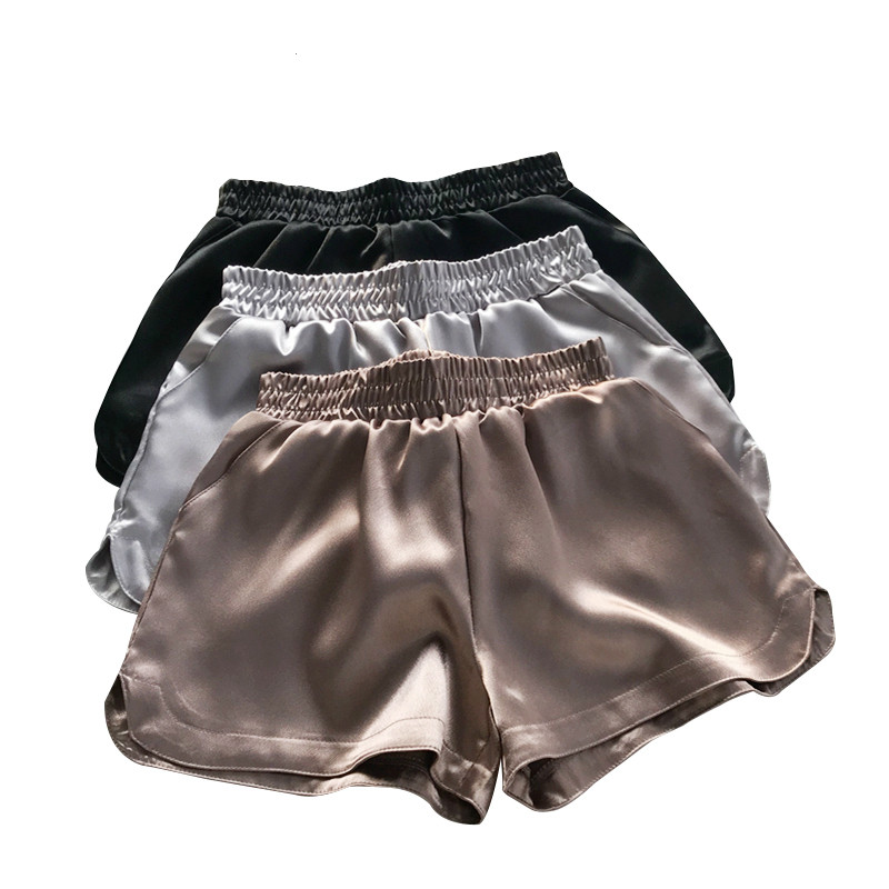 Summer Casual Women Bottoms Women Satin Shorts Faux Silk Hot Shorts Shiny Glitter Wide Leg Short Trouser Mid Waisted  914-A079