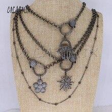 Модное циркониевое ожерелье с подвеской, длинная металлическая цепочка, качественное ювелирное ожерелье 3337
