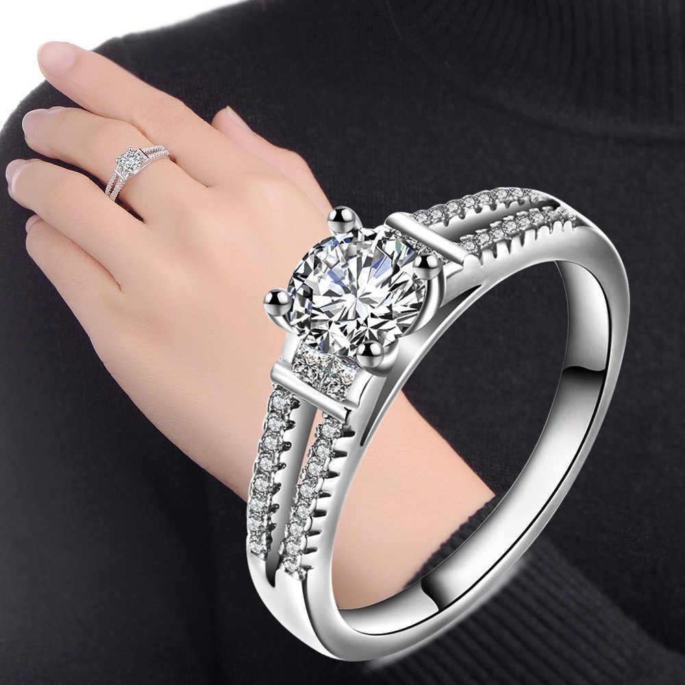 KOFSAC 2018 luxury CZ เจ้าสาวงานแต่งงานแหวนผู้หญิง 925 Stamped Sterling Silver Promise แหวนแฟชั่นเครื่องประดับ