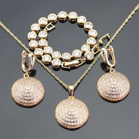 2016 New Yellow Gold Plated Jewelry Sets For Women Necklace Pendant Bracelet Hoop Earrings Free Gift