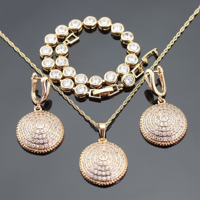 2016 New Yellow Gold Plated Round White CZ Jewelry Sets For Women Necklace Pendant  Bracelet Hoop  Earrings Christmas Gifts