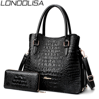 LONOOLISA Fashion Alligator 2 Sets Purses And Handbags PU Leather Women Messenger Bags Ladies Hand Crossbody Bags For Womenc2019