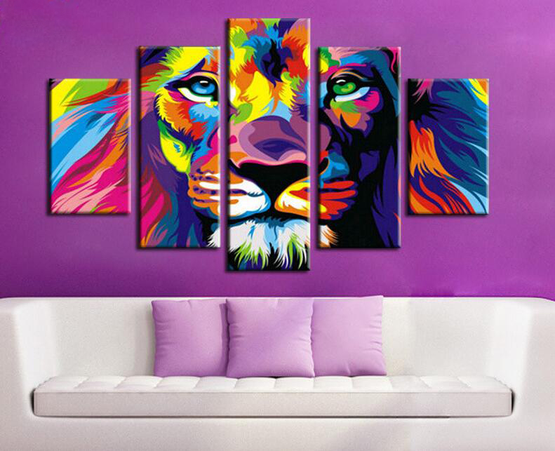 5 Piece Color Print Lion King Animal Abstract Painting Modern Home Living  Room Wall Decor Art HD Print Picture Canvas Unframed In Painting U0026  Calligraphy ...