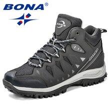 Bona novo design sapatos masculinos montanha tamanho grande marca sapatos homens anti escorregadio caminhadas sapatos confortáveis ao ar livre sapatos de corrida