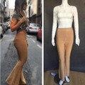 De Calidad superior HL Celebrity Fashion Brown Rayon Vendaje Pantalones Flare Pants Bodycon Del Partido