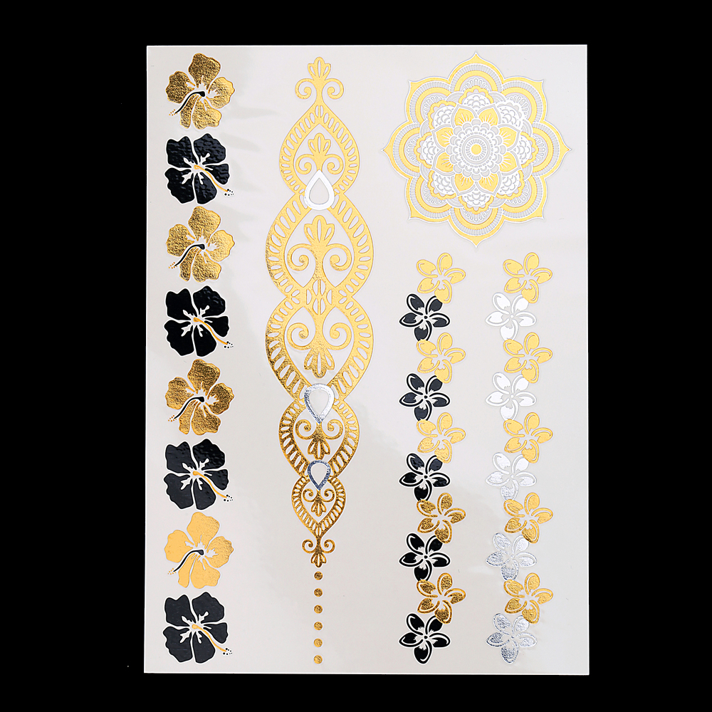 1 Piece Body Art Jewellery Flash Tattoo Metallic Gold Silver Temporary Yh 120 Sexy Women Flower Bracelet Products Tattoo Sticker Stickers Digital Stickers Promotionsticker Board Aliexpress