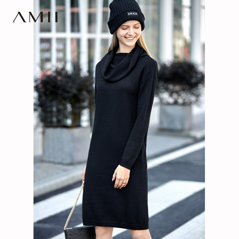 Amii Minimalist Double Layer Dress Women Autumn Winter 2018 Causal Solid Long Sleeve Pullover Elegant Knit