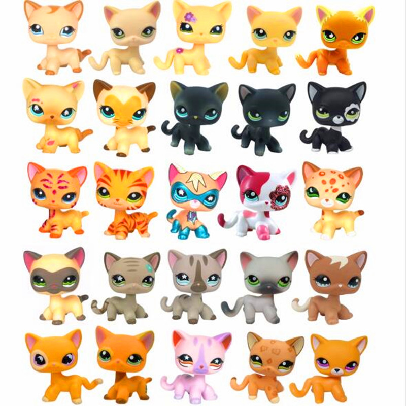christmas gifts toys Cute Short Hair pet shop collections White Pink Yellow Tabby Black Orange Super hero kitty animal lps pet shop toys rare black little cat blue eyes animal models patrulla canina action figures kids toys gift cat free shipping