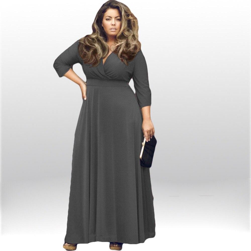 Plus Size Women Clothing 3XL New Autumn V neck Party Long ...