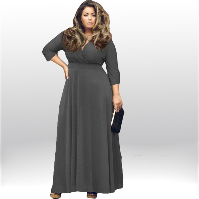V neck maxi dress plus size women
