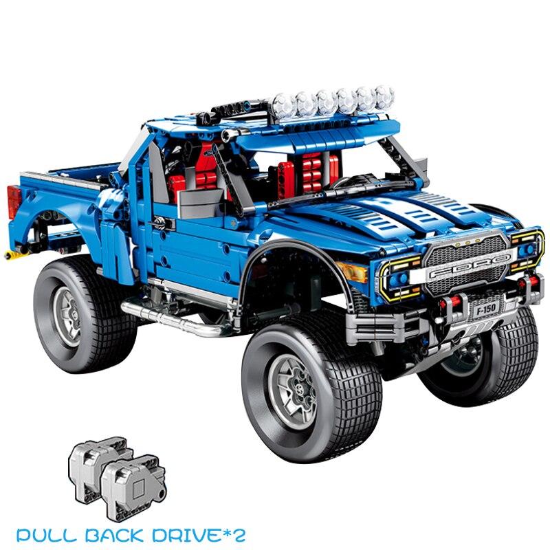 Oyuncaklar ve Hobi Ürünleri'ten Bloklar'de Teknİk Serisi Ford Raptor F 50 SUV kamyonet Geri Çekme Fonksiyonu oyuncak inşaat blokları Çocuklar Için Uyumlu Arabalar Setleri'da  Grup 1