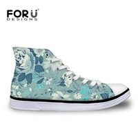 FORUDESIGNS Vintage Flower Pattern Women High Top Canvas Shoes Fashion Female Casual High Top Vulcanized Shoes