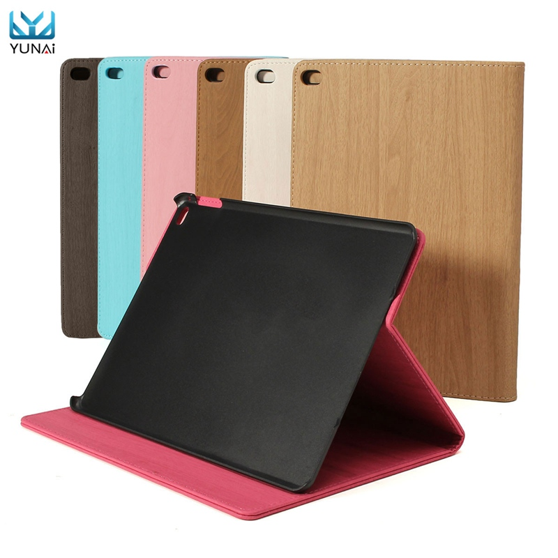 YUNAI Wood Grain Wake Sleep Flip Smart Case Cover For iPad Air 2 For iPad 6 Shockproof Cover Case New Tablet Case 9.7inch