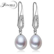 Fashion Pearl Earrings For Women High Quality Natural Freshwater 925 Silver Earring Jewelry Gift White