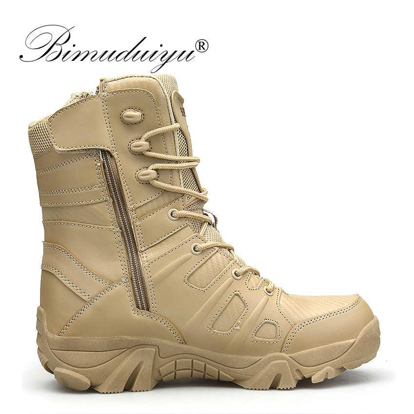 BIMUDUIYU Winter Herfst Mannen Militaire Laarzen Speciale Kracht Tactische Desert Combat Ankle Boten Leger Werk Schoenen Lederen Outdoor Schoen