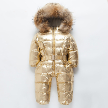 2019 Russian Winter Children White Duck Down Warm Jumpsuit Baby Thickened Big Fur Collar Boys Girls Rompers Kids Hooded Clothes цена