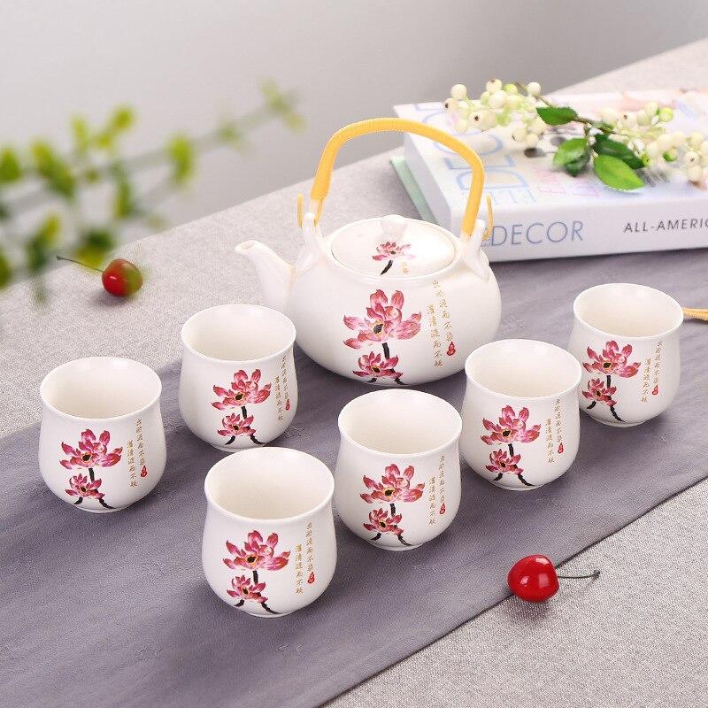 Ev ve Bahçe'ten Çay Takımı Setleri'de Fabrika doğrudan satış büyük mavi ve beyaz ışın anma demlik hediye seti 7 adet çay seti büyük demlik title=