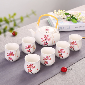 Factory direct sale large blue and white beam to mention tea pot gift set 7 pcs tea set large tea pot