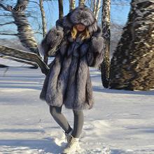 Tatyana Furclub płaszcz z prawdziwego futra Silver Fox naturalne futra dla kobiet kurtka z prawdziwej skóry kobiet 2020 modna odzież gruba tanie tanio CN (pochodzenie) Zima Futro High Street Grube ciepłe futro Z Kapturem Futra Przycisk zadaszone REGULAR Pełna STANDARD