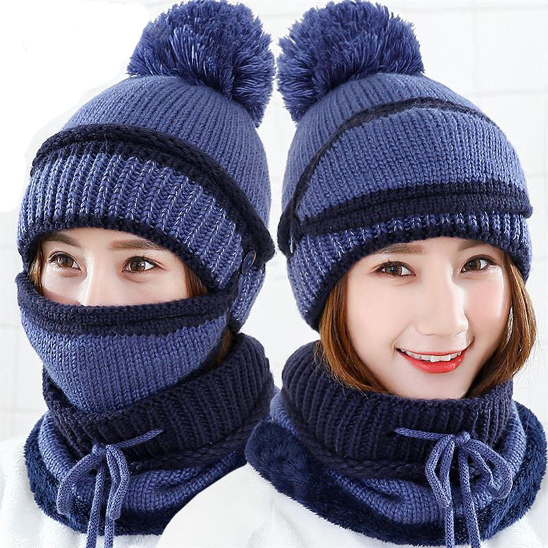 Female Warm Beanie Hat Riding Snow Caps Winter Women Knitted Hat Scarf Mask Set Hairball Pom Pom Fashion Thickening Hat Collars in Men 39 s Skullies amp Beanies from Apparel Accessories
