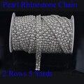 2 Строк Х 5 Метров Хорошее Качество SS19 Crystal Clear Пришить Горный Хрусталь Отделка С 5 мм Жемчужина