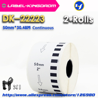 2 Refill Rolls Generic DK-22223 Label 50mm*30.48M Continuous Compatible for Brother Label Printer White Color DK-2223 DK22223