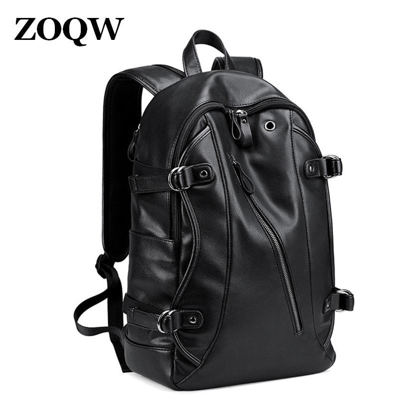 53aab2ca28f Fashion men s PU leather backpack shoulders bag 2018 new male Large  Capacity travel backpack school bag