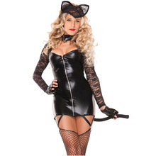 Adult Women Sexy Bunny Cat Women Costume Black Zip Up PVC Lace Mini Dress 2 PCS Set Cosplay With Ear & Tail Club For Girls women s fashionable sexy cat style cosplay sleep dress set black