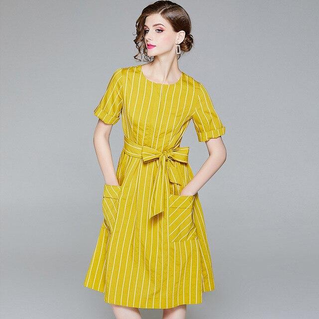 European runway 2018 summer new women's fashion yellow blue belt short sleeve round neck striped dress midi dresses with pocket