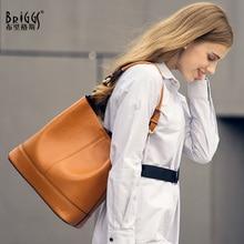купить BRIGGS fashion women handbag genuine leather tote bag female Embossed leather shoulder bags ladies handbags messenger bag sac по цене 3321.69 рублей