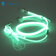 Teamyo Glowing Earphones Glow in the Dark Luminous Headsets Metal Zipper with Mic 3.5mm In Ear Lighted Earbud for iPhone Xiaomi