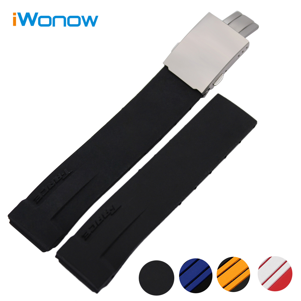 Silicone Rubber Watchband 21mm +Tool for PRC200 T048 T048417 Replacement Watch Band Steel Buckle Strap Wrist Bracelet MultiColor t rrce expert black silicone rubber strap t048 watch band for t048417a 21mm