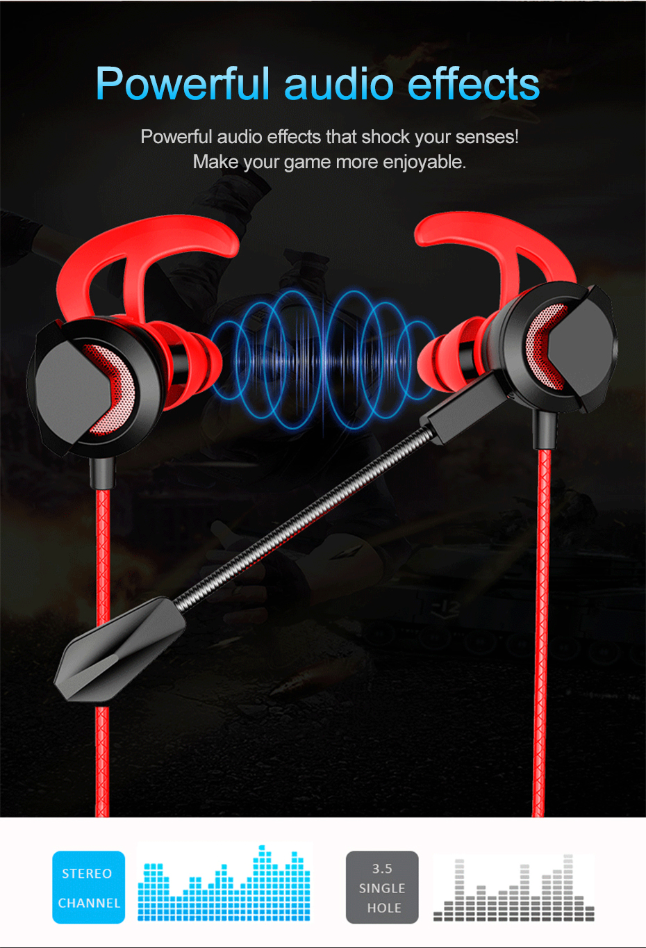 Wired Earphone With Micphone For Computer Mobile Phone Games Wired Headset Hifi Earphone In-ear Earphone Wired Gaming Headset   (8)