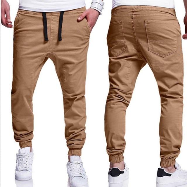 Mens 2017 Fashion Pockets Long Pants Plus Size S-3XL Casual Trousers Beige Navy Dark Grey Sweatpants High Quality