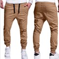 Para hombre 2017 Moda Bolsillos Pantalones Largos Más El Tamaño S-3XL Pantalones Casual Beige Navy Gris Oscuro Pantalones Deportivos de Alta Calidad