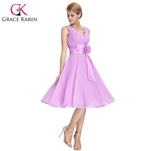 Grace Karin Bridesmaid Dresses Knee Length Short Formal Party Abendkleider Chiffon Blue Purple Bridesmaid Gown Robe De Soiree(China)