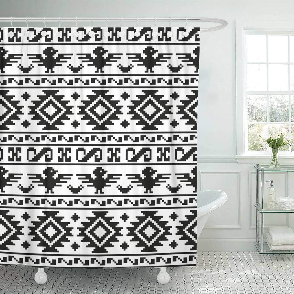 Shower Curtain With Hooks Blue Southwest Pixel Aztecs Colorful Abstract Africa African American Black Border Decorative Bathroom