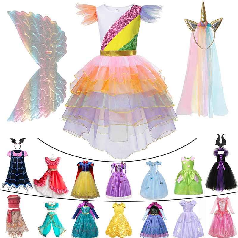 Classic Princess Collections Girls Sleeping Beauty Maleficent Rapunzel Cosplay Clothing Child Carnival Unicorn Tinkerbell Dress