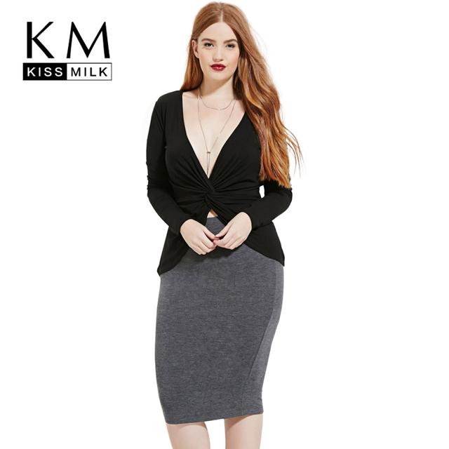 Kissmilk Plus Size Mulheres Nova Moda de Roupas Streetwear Sólida Camisa de Manga Longa Ocasional Sexy Plissado T-shirt Big Size 3XL-6XL