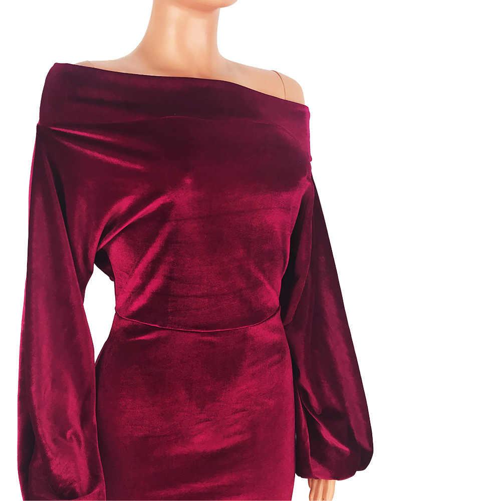 TEXIWAS Mùa Xuân Thổi Phồng Tay Áo Nhung đảng Dress 2019 Nữ Off-Shoulder Bodycon dress Phụ Nữ Thanh Lịch phụ nữ Văn Phòng Kinh Doanh ăn mặc