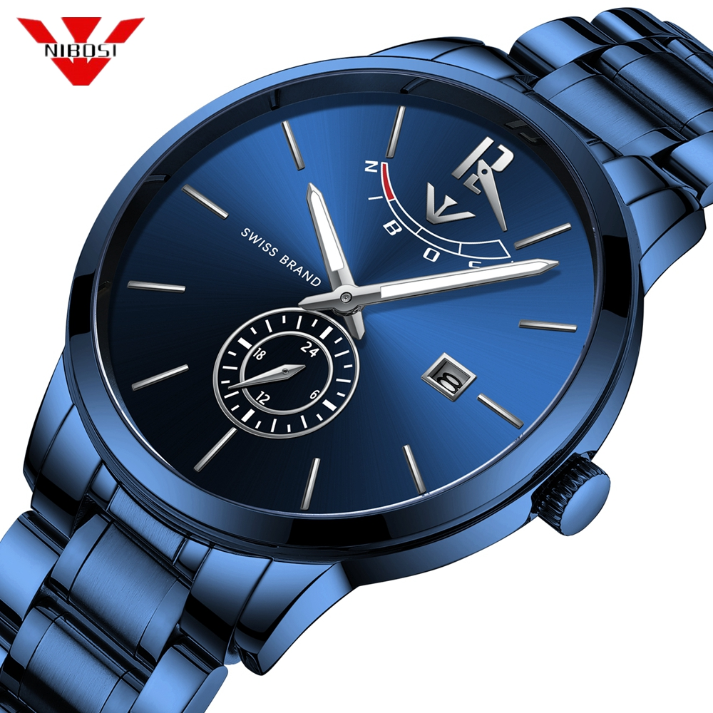 NIBOSI Men Watches Luxury Chronograph Waterproof Quartz Watch Clock Fashion Male Blue Watch Relogio Masculino With Retail BoxNIBOSI Men Watches Luxury Chronograph Waterproof Quartz Watch Clock Fashion Male Blue Watch Relogio Masculino With Retail Box