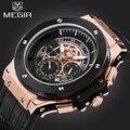 Relógios Homens Marca Megir Chronograph Mens Leather Strap Luminous Quartz relógio de Pulso Moda Masculina Militar À Prova D' Água Relógio Esportivo