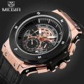 Watches Men Megir Brand Mens Chronograph Leather Strap Quartz Luminous Wristwatch Fashion Male Waterproof Military Sports Watch