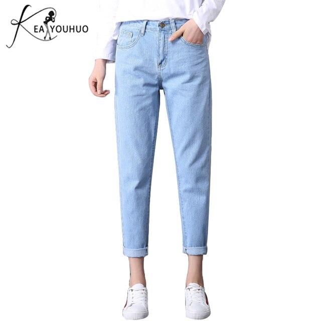 6526271ce1ac 2019 Inverno Sólida Lavagem Namorado Feminino Calça Jeans de Cintura Alta  Para Calças Lápis Denim Jeans