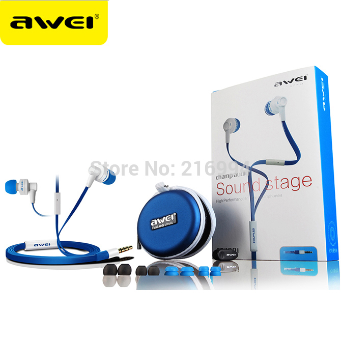 original Awei ES700i 3.5mm In-ear Earphone for Ipod Iphone HTC Samsung, with Microphone Mic, Free shipping awei headset headphone in ear earphone for your in ear phone bud iphone samsung player smartphone earpiece earbud microphone mic