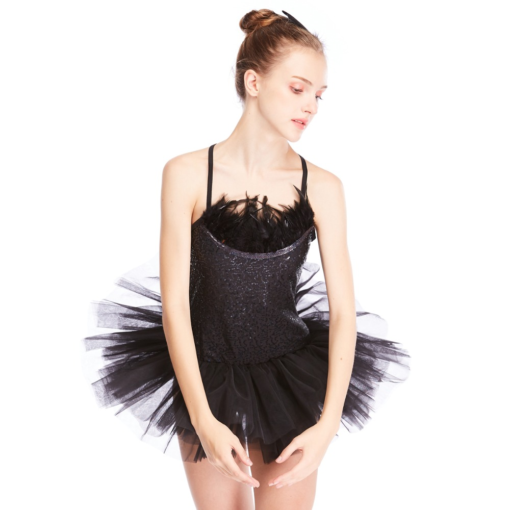 865f1ea0da MiDee Black Swan Ballet Tutu Dress Feather Trimmed Neckline Sequins Leotard  with Tutu Skirt Dance Costumes 2 Pieces -in Ballet from Novelty   Special  Use on ...
