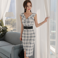 2018 Summer OL Sleeveless Notched Office Cloth Women Sexy Plaid Knee Length Lining Belt Pencil Bodycon Midi Work Dress