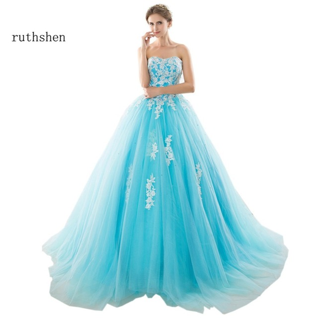 ruthshen 2018 Cheap Debutante Masquerade Prom Ball Gowns Light Blue Beaded Appliques  Ball Gown Quinceanera Dresses 12f1323daee5